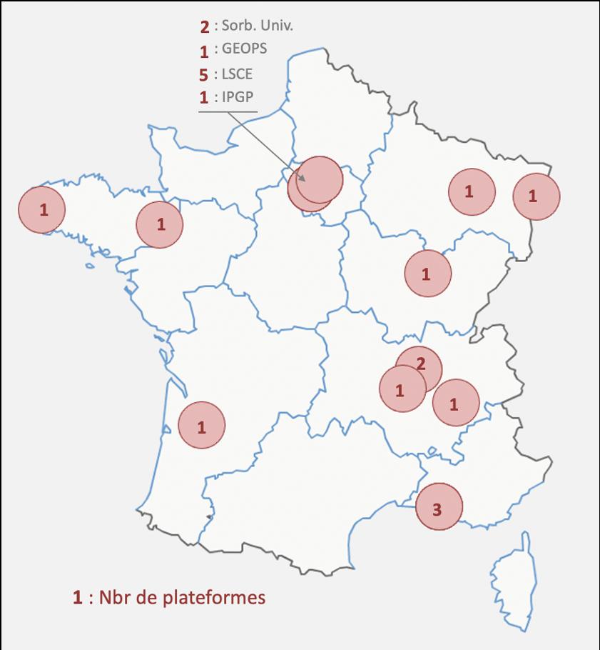 RéGEF : distribution sur le territoire des moyens du réseau Spectrométrie Stables